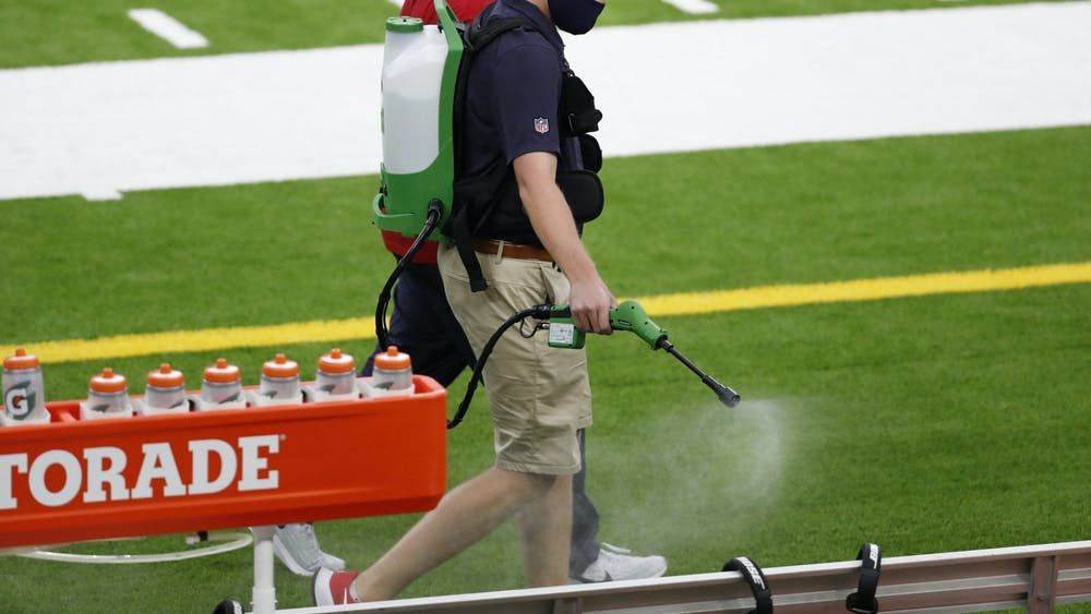 COURTESY OF BRETT COOMER VIA HOUSTON CHRONICLE The Houston Texans have taken extra steps to disinfect surfaces during training camp.