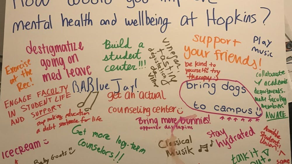 COURTESY OF AJ TSANG Students wrote down ideas for how they would improve mental health at Hopkins.