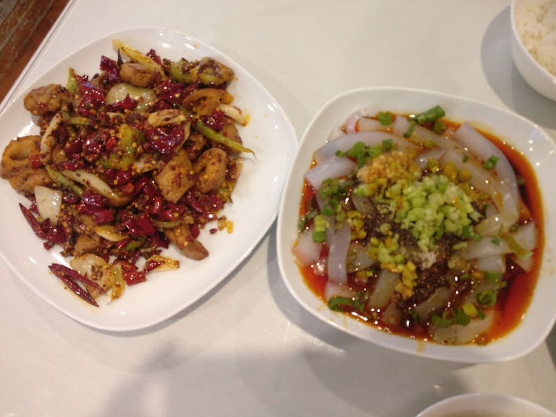 COURTESY OF JESSE WU Dry fried pork intestine and chili mung bean noodles: Sichuanese classics.