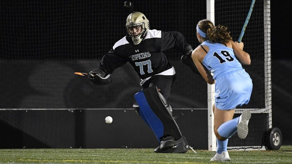 COURTESY OF HOPKINSSPORTS.COM  Junior goalkeeper Jodie Baris earns seven saves against the Garnet last Saturday.