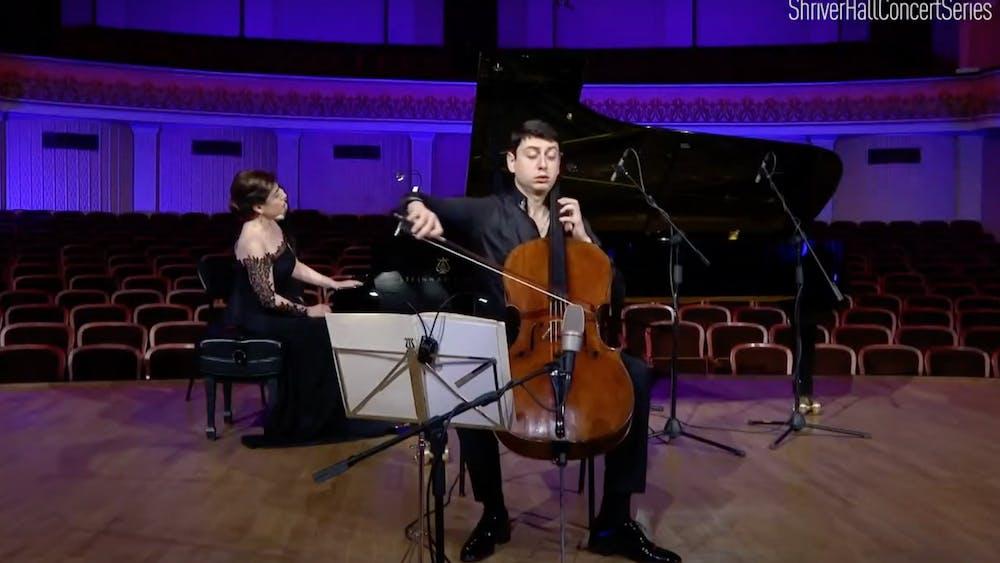 COURTESY OF SARAH JUNG Narek Hakhnazaryan and Armine Grigoryan performed in the Aram Khachaturian Concert Hall in Yerevan, Armenia.