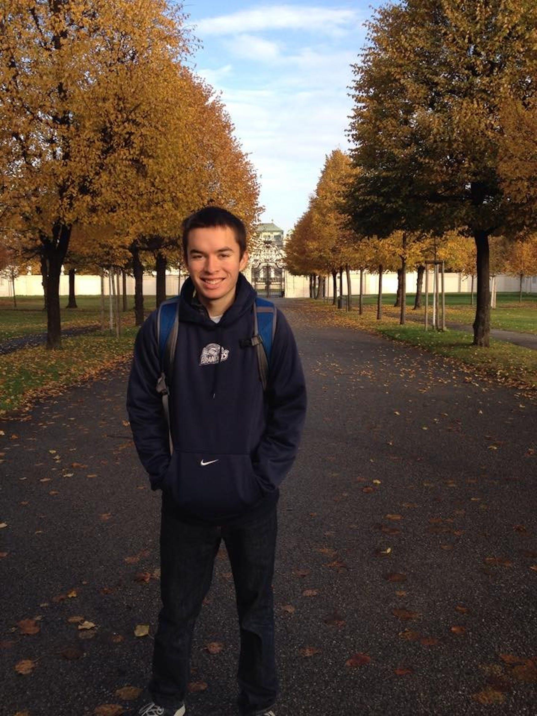 BRANDEIS PRIDE: Dupont shows school spirit by wearing a Brandeis sweatshirt while traveling abroad in Vienna, Austria.