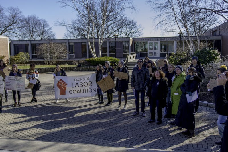 """MAKING THEIR VOICES HEARD: Alina Sipp-Alpers '21, the Brandeis Labor Coalition coordinator, said that the rally outside the Bernstein-Marcus administrative building demonstrated that the librarians """"would not back down until they were given a contract."""""""
