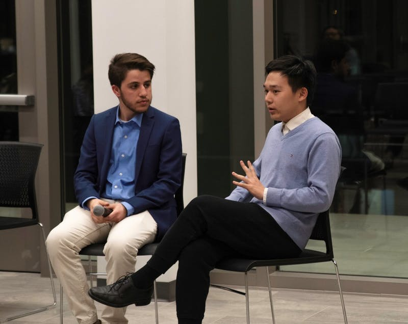SUSTAINABILITY: Isaiah Freedman '20 (left) and Zhengmao Sheng '22 (right) are running for the position of representative to the Brandeis Sustainability Fund. Ben Silver '20 is also running but was unable to attend the debate.