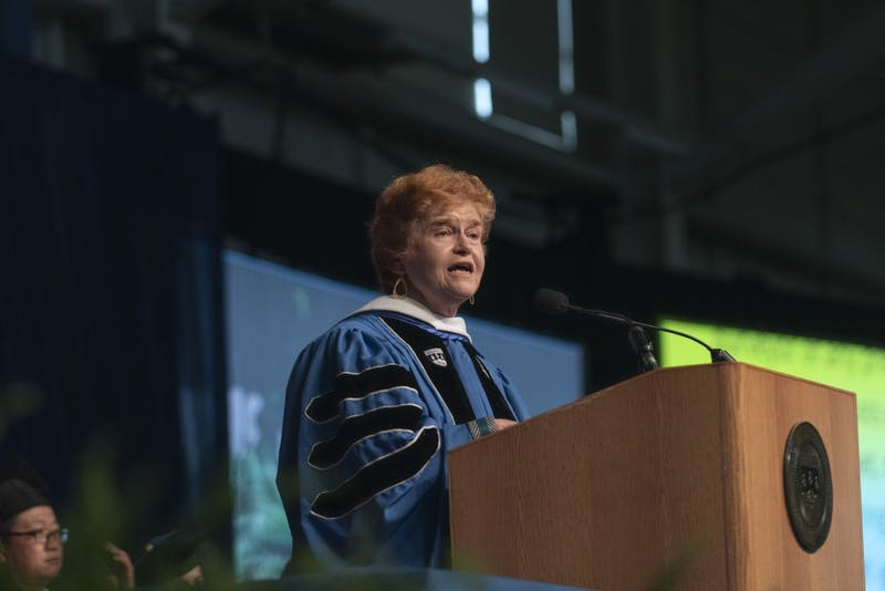 """CHALLENGING ANTI-SEMITISM: Holocaust scholar and author Deborah Lipstadt MA '72, PhD '76 addressed the Class of 2019 at Commencement. """"No genocide of any kind, in any place, ever began with action. It begins with words,"""" she said."""