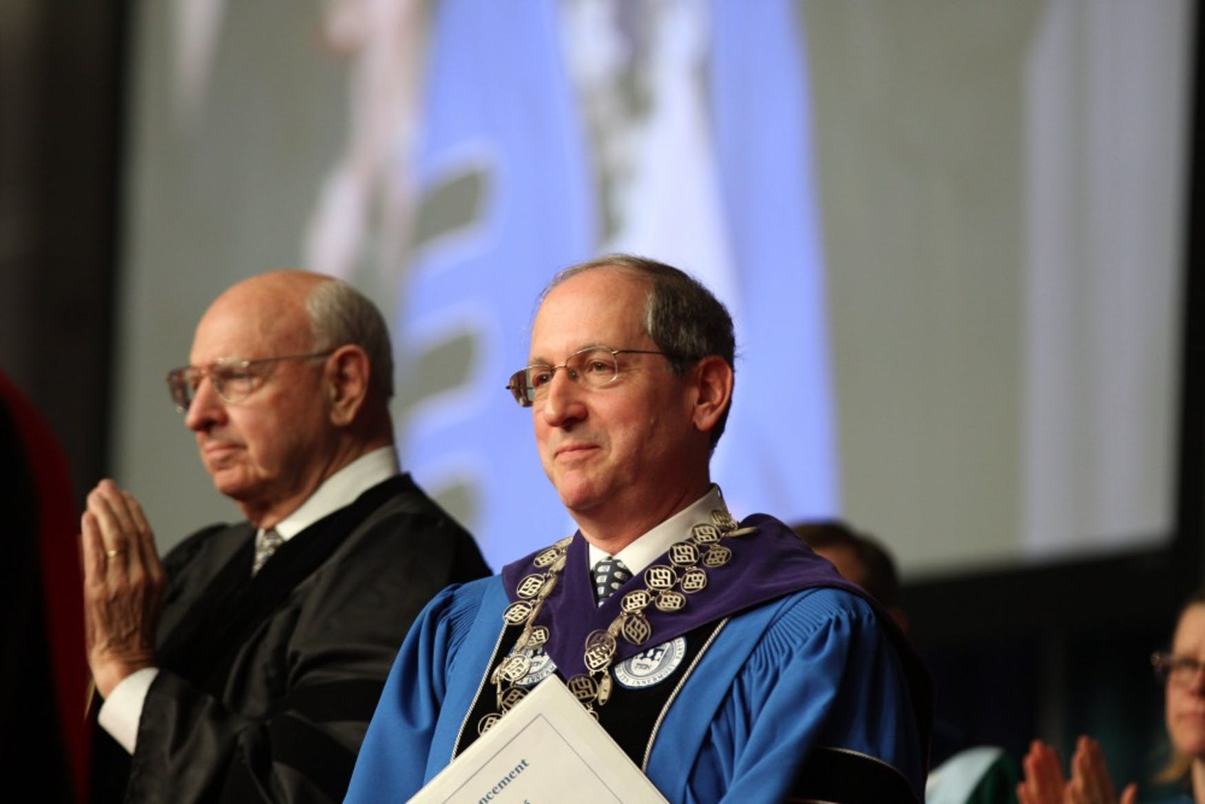 END TO AN ERA: President Fred Lawrence spoke at the 64th commencement exercises about his time as president, before introducing Thomas Pickering as the commencement speaker.