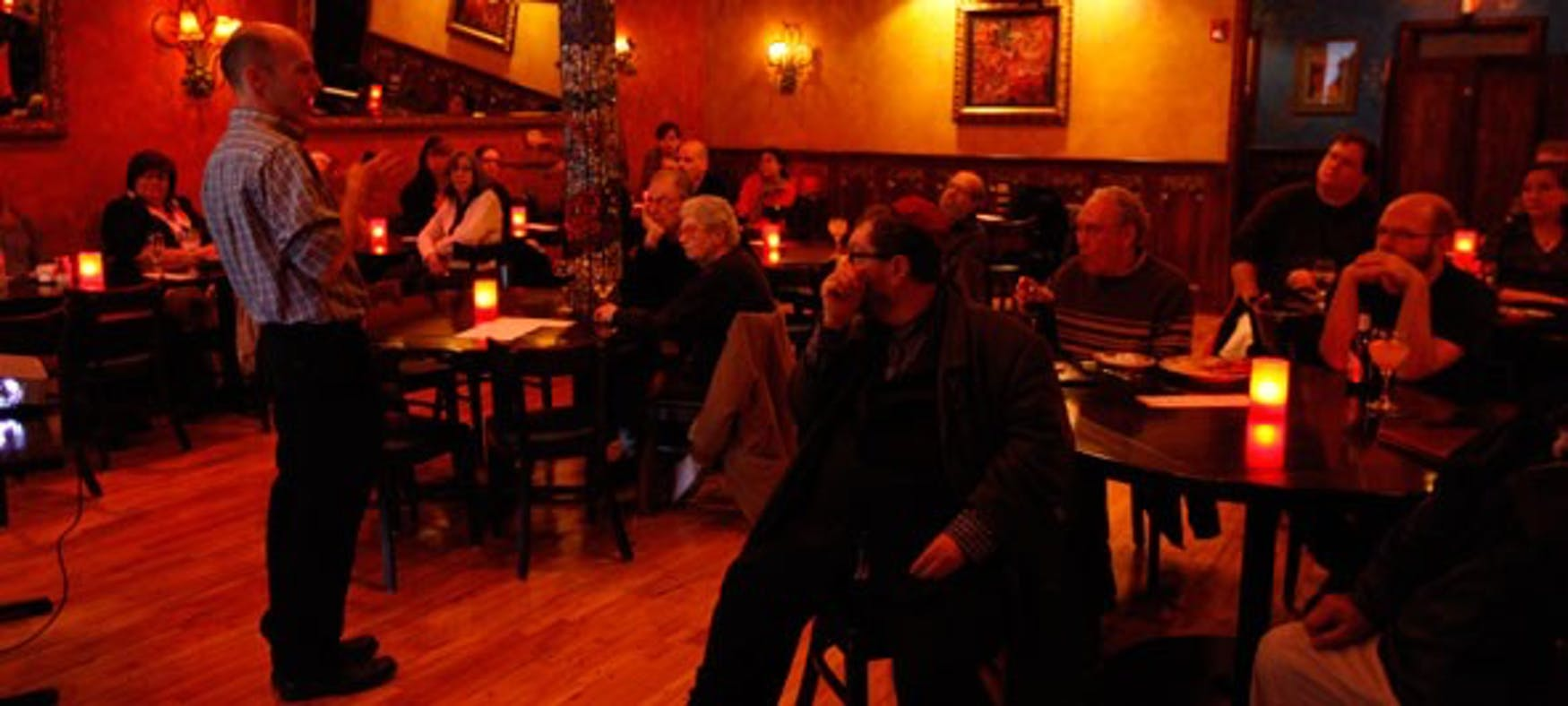 MONTHLY MISSION: Cafe Science occurs on the first Monday of every month to engage the community in lively conversation about cutting-edge research by Brandeis scientists at Solea Restaurant and Tapas Bar on Moody Street.