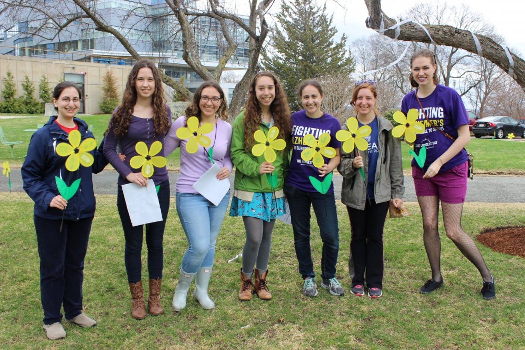 A GROUP EFFORT: Club members (left to right) Ilana Weisz '15, Bethany Rennich '17, Sarah Lipitz '17, Leah Levine '17, Arielle Keller '16, Linda Maleh '16 and Erin Radziwon '16 come together to host the Fellows Garden event on Friday, the final event of awareness week.