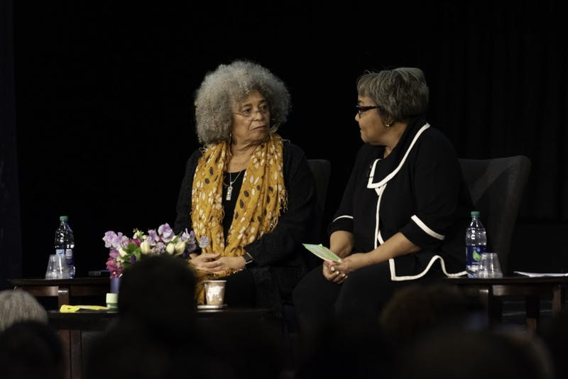 NOTABLE ALUMNI: Julieanna Richardson and Angela Davis spoke as part of the event series celebrating the 50th anniversary of the department of African and African American Studies. Davis talked about her experiences with activism and with Brandeis.