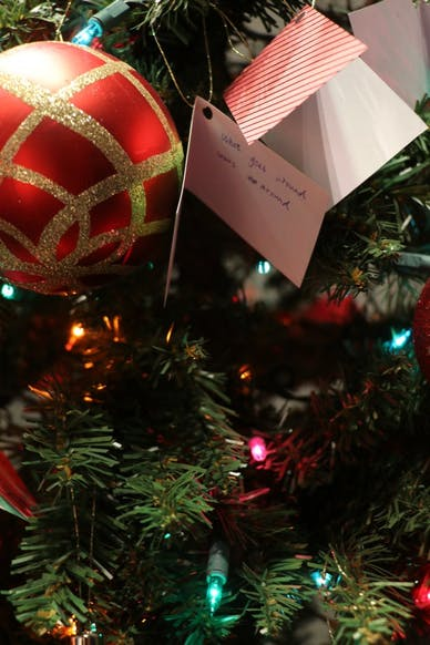 Christmas Tree with wishes placed by students