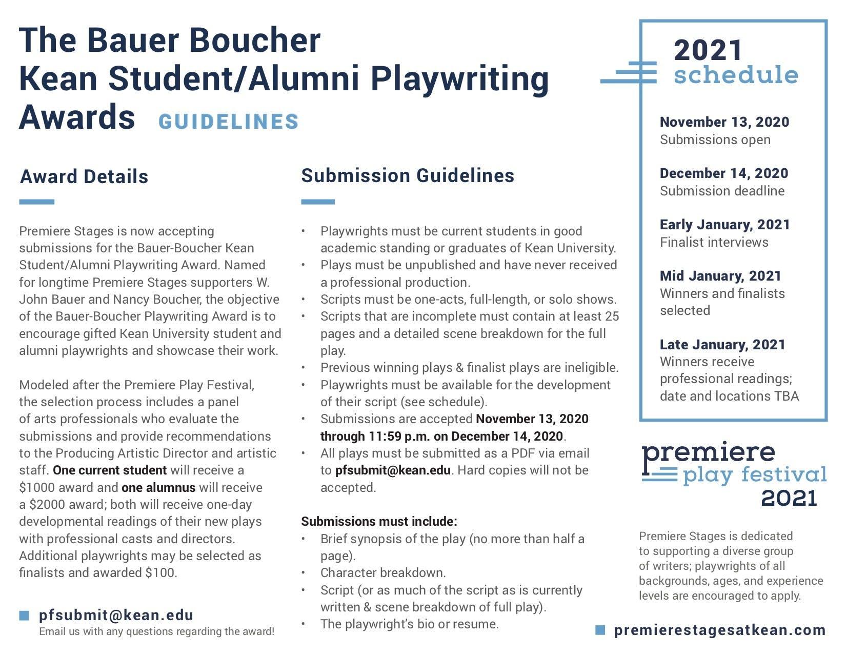 2021 Bauer Boucher Awards Guidelines