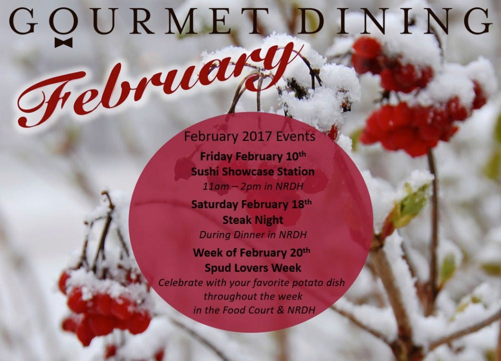 Gourmet Dining February Calendar Of Events