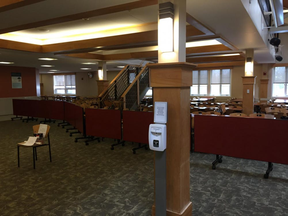 """<span class=""""photocreditinline"""">COURTESY OF DAVID DONG</span><br />To promote social distancing, students are no longer permitted to eat inside Proctor dining hall."""