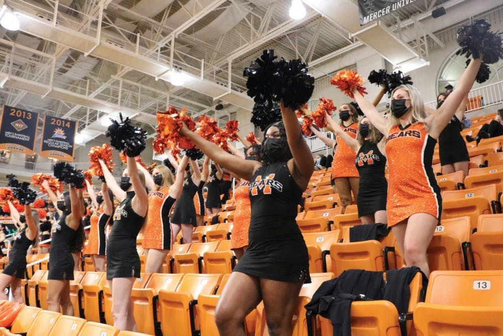 The Mercer Dance Team dances in the stands in Hawkins arena during the women's basketball game against Furman Jan. 21.
