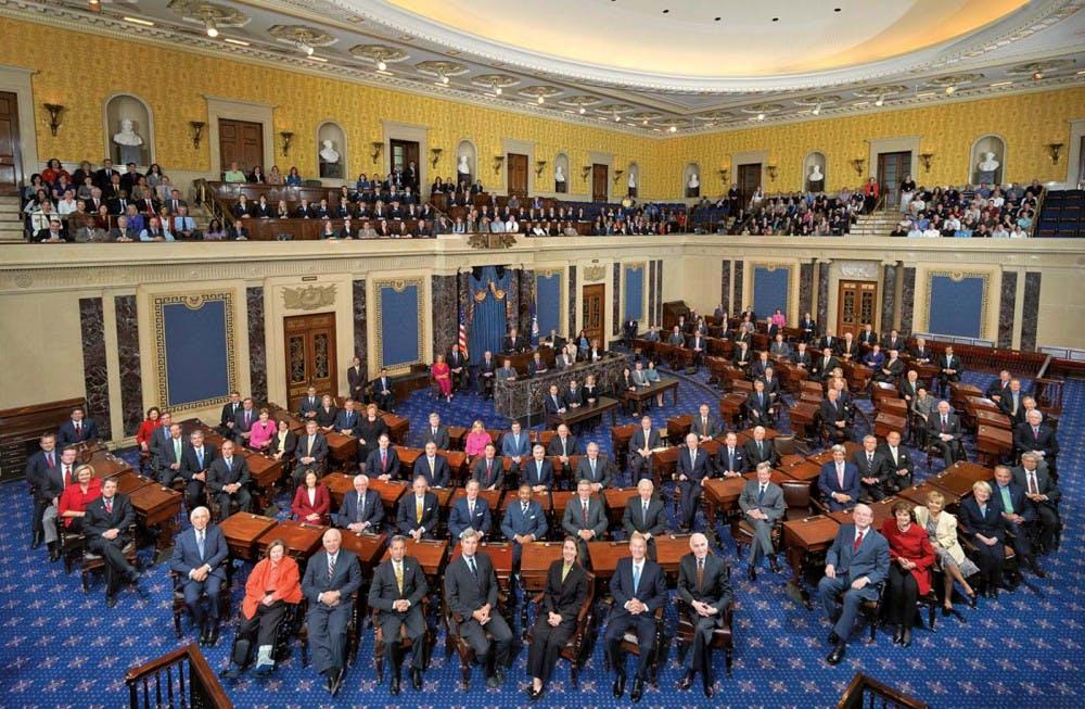 A class photo of the 111th United States Senate.