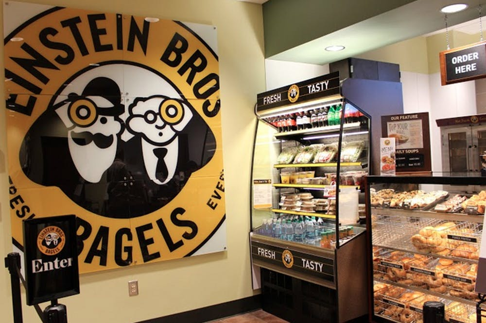 Einstein Bros. Bagels, located on the first floor of the Tarver Library, is a relaxed cafe where you sit and grab a bite to eat or hang out with friends.