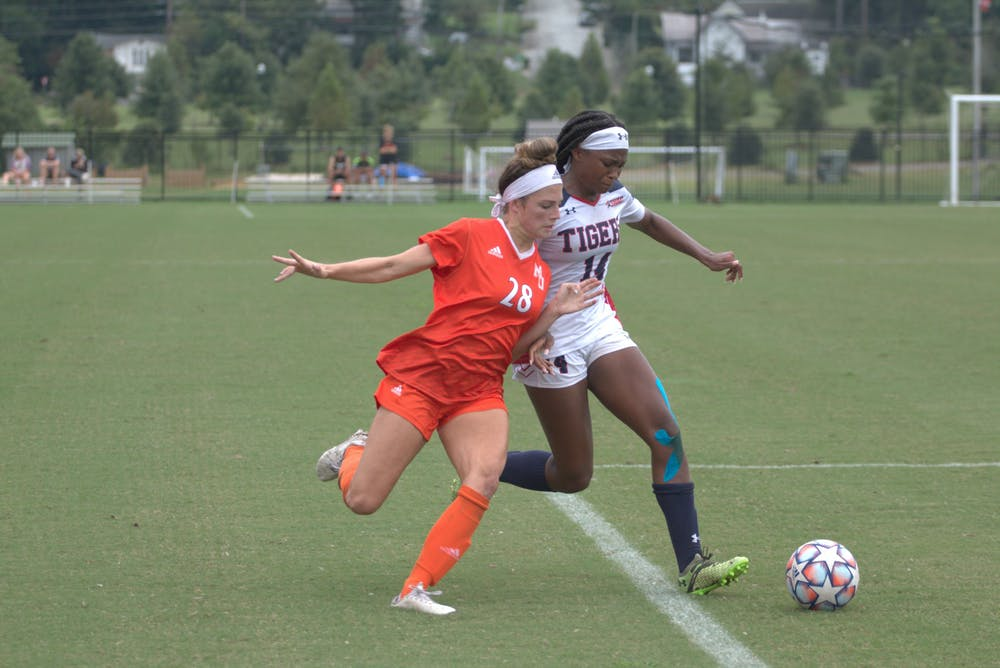 <p>Mercer&#x27;s Kylie Buchanan (#28) fighting Jackson State&#x27;s Sydni Wilson (#14) for control of the ball during their game Sept 19. The Bears would win 2-1. </p>