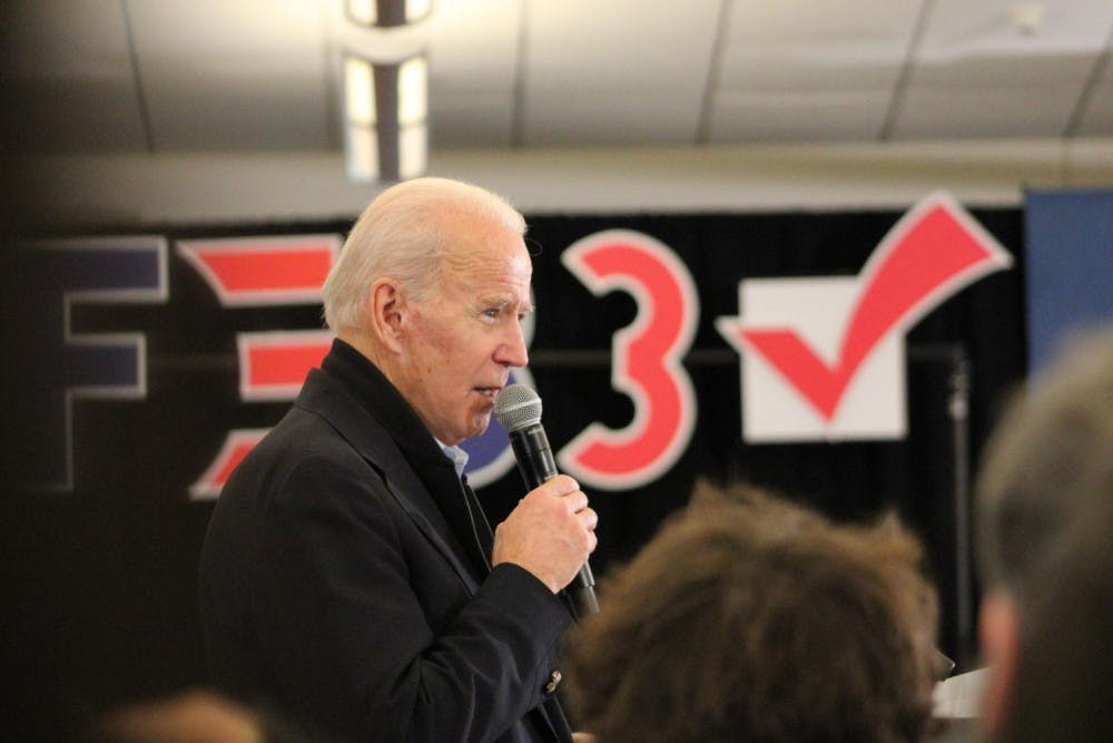 """President-elect Joseph R. Biden Jr. speaks at his campaign event in North Liberty, Iowa, on Feb. 1, 2020. """"They don't want me to be the nominee because they know I'll beat him like a drum,"""" he said. The Biden campaign emerged from the presidential race victorious Nov. 7, according to the Associated Press."""