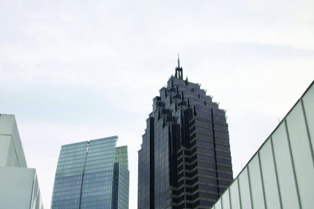 A portion of the Atlanta skyline viewed from the High Museum of Art. Visiting the High is a popular activity in downtown Atlanta.