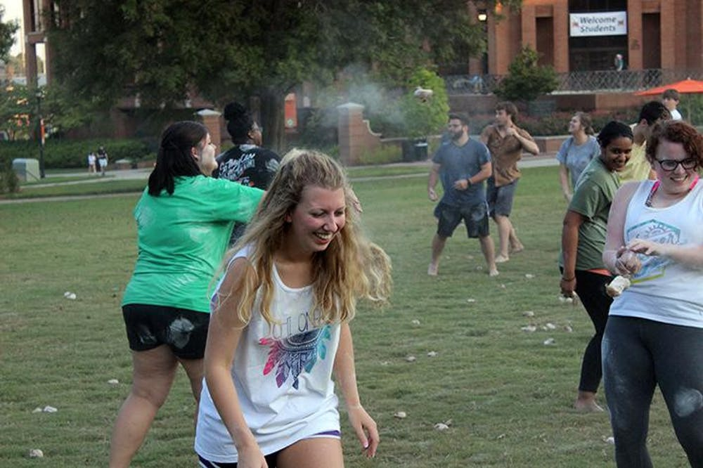 Sophomore Danielle Richey having some fun at Mercer CURE's snowball fight.