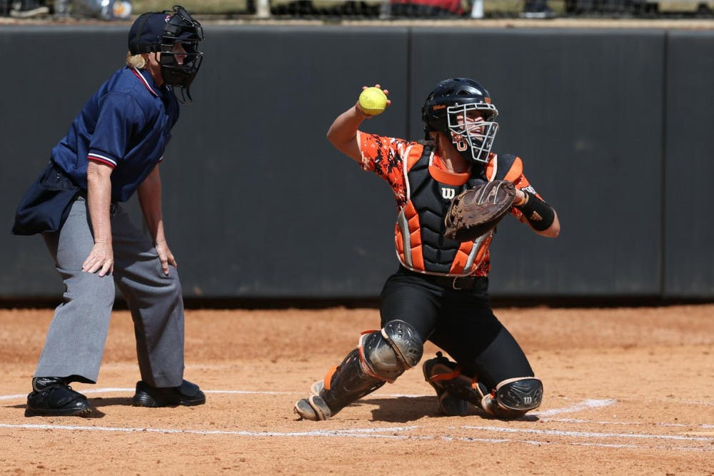 Megan Lane (#0) catching behind the plate. Photo provided by Mercer Athletics.