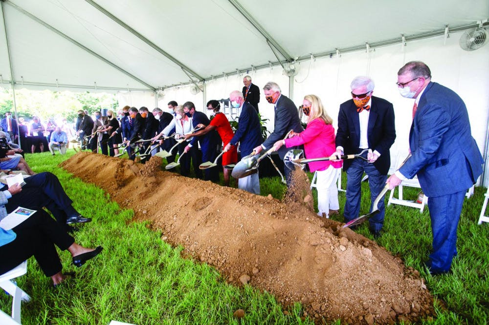 Mercer University holds a groundbreaking ceremony at the site of its planned medical school campus in Uptown Columbus on the banks of the Chattahoochee River. Photo provided by Mercer University Marketing Communications