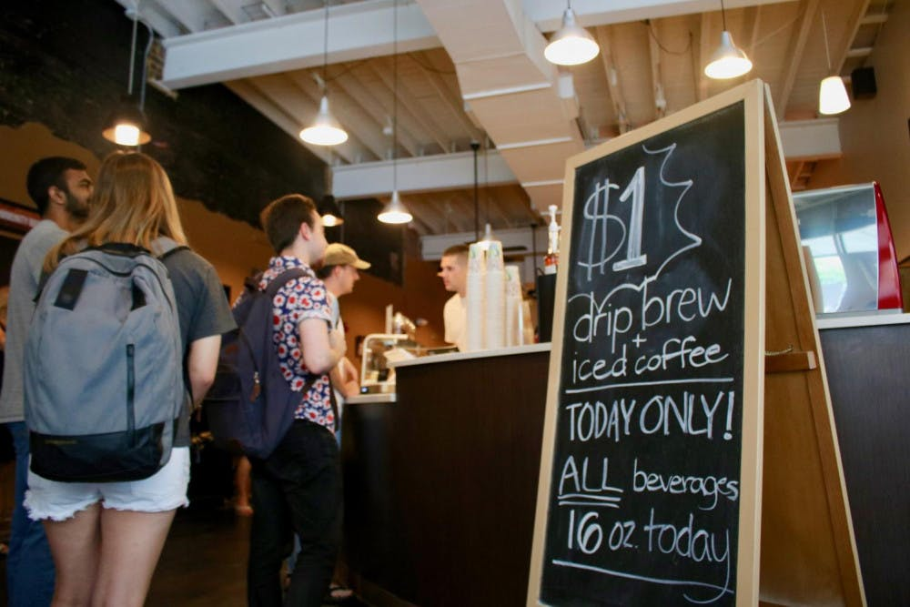 Z Beans Coffee offered $1 drip and iced coffee all day for the shops grand opening. By Thais Ackerman.