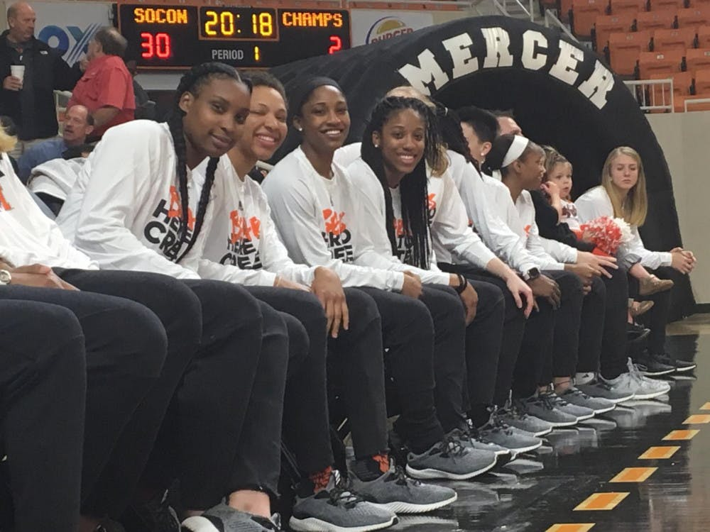 From left to right: Seniors Shon Kitchens, Kahlia Lawrence, Sydni Means, and Kayla Potts waited to hear who they'd be playing in the 2018 NCAA Tournament