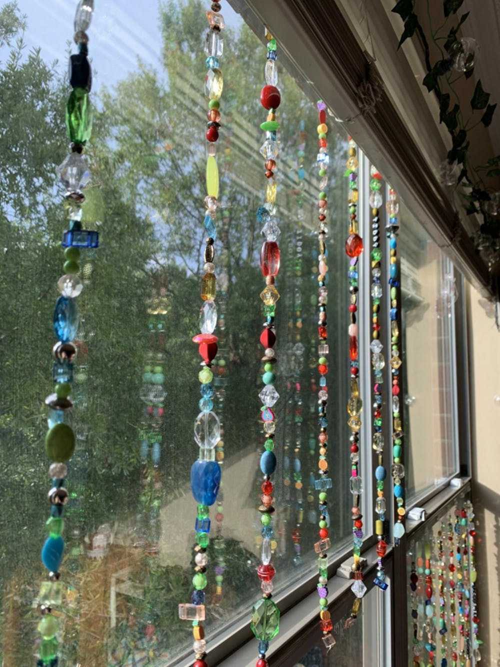 Beaded curtains are a beautiful way to liven up your dorm.