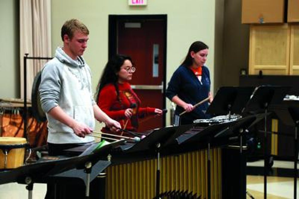 Sara Lafkir Mercer University's Percussion Ensemble has a rehearsal with Dr. Marcus Reddick.