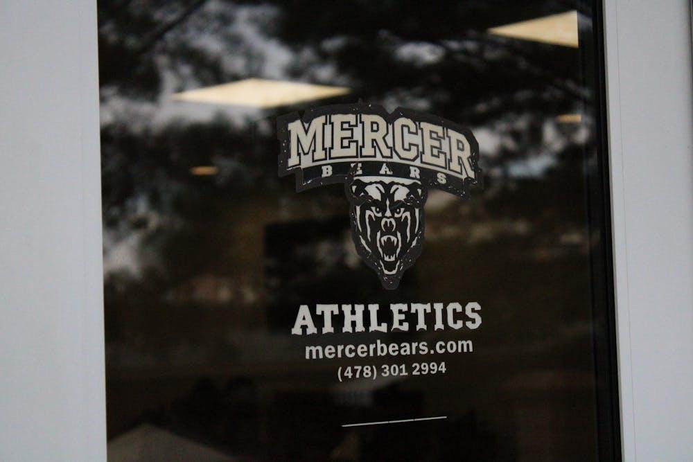 The door of the Mercer Athletics department in the University Center.