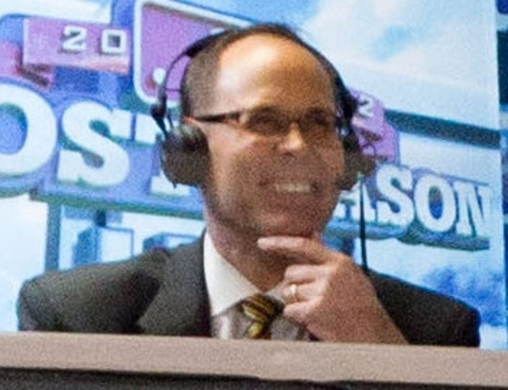 Ernie Johnson Jr. calls the New York Yankees at Baltimore Orioles ALDS Game 1 for TBS on October 7, 2012. (Keith Allison, CC BY-SA 2.0, via Wikimedia Commons)
