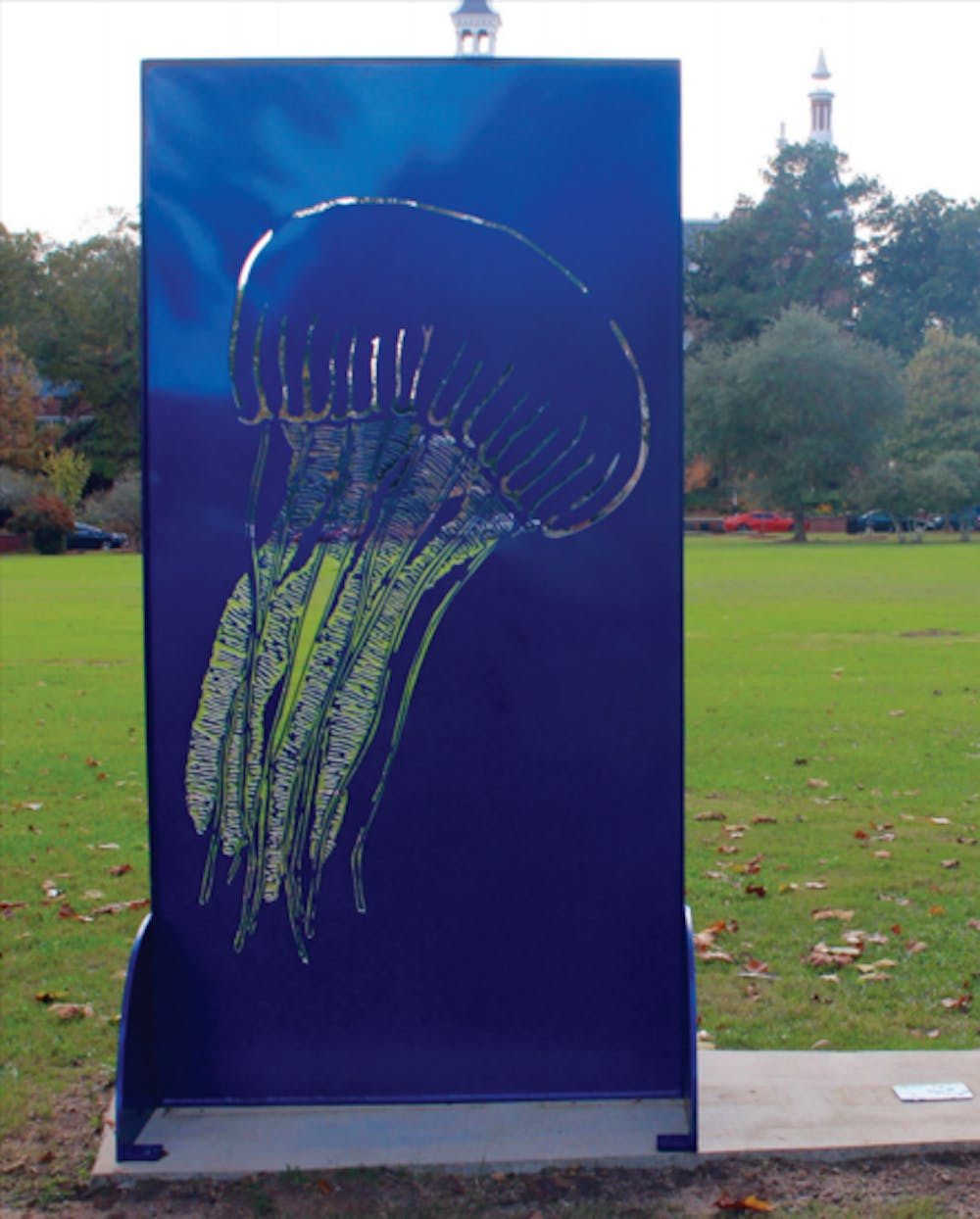 """""""Dance of the Jellyfish"""" by Jenny K. Hager-Vickery stands in Tattnall Square Park alongside other public art."""