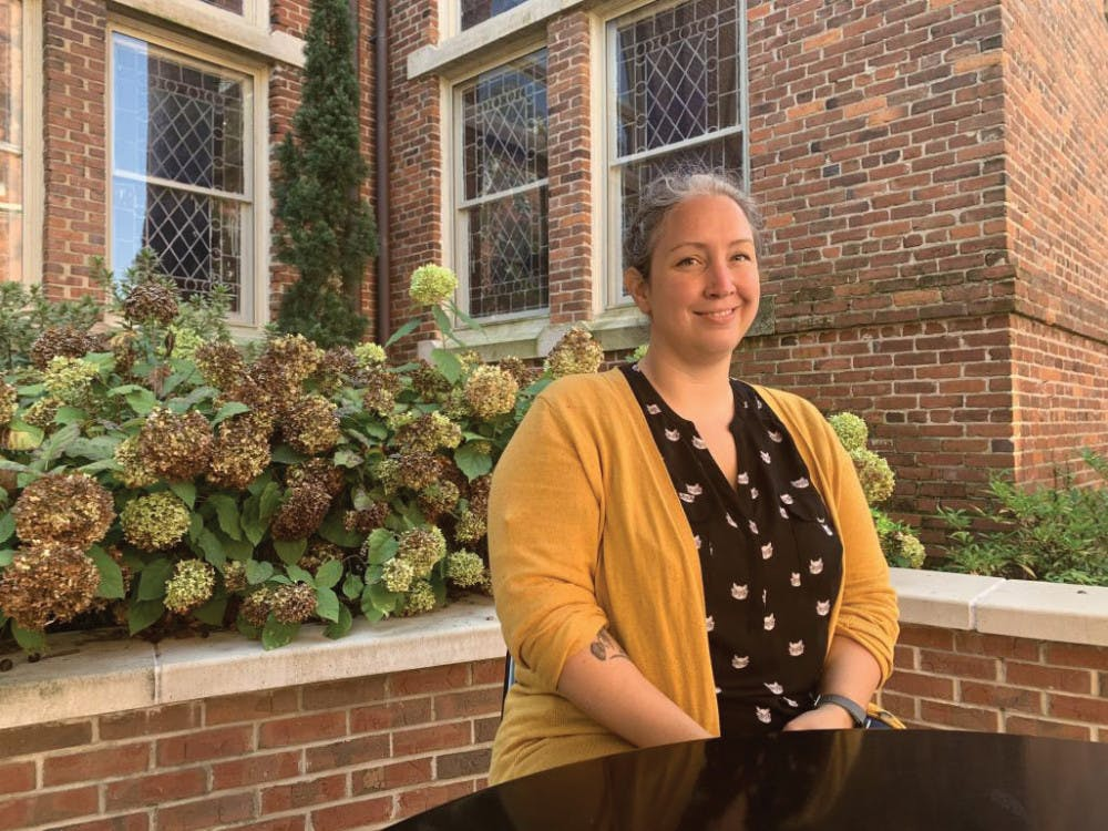 Mercer history faculty Dr. Abigail Dowling poses for a portrait near Willingham Hall.