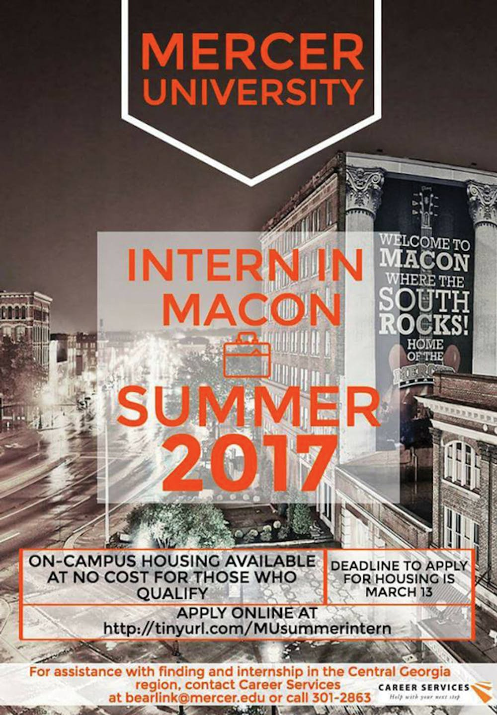 The Student Government Association, in partnership with Career Services, created a flier to send to students to advertise summer internship opportunites in Macon.