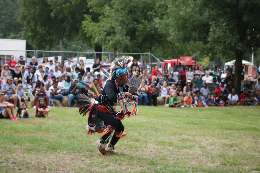 A Native American dancer entertains the crowd at the Ocmulgee Festival.