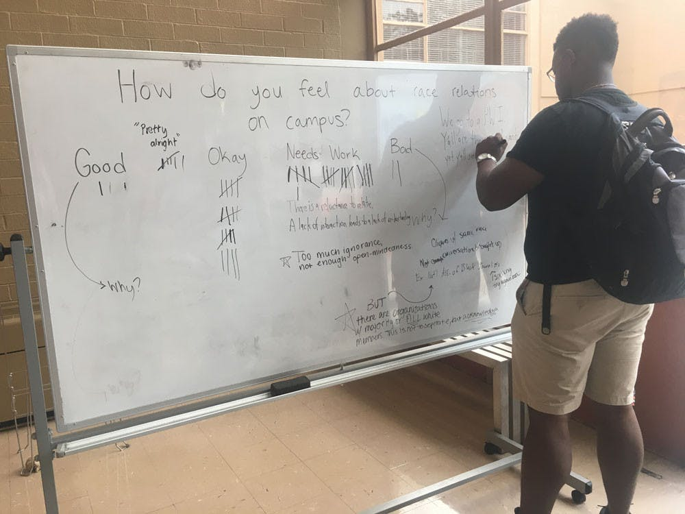 SGA set up a tally in the CSC on Oct. 16 for students to shre their thoughts regarding race relations on campus.