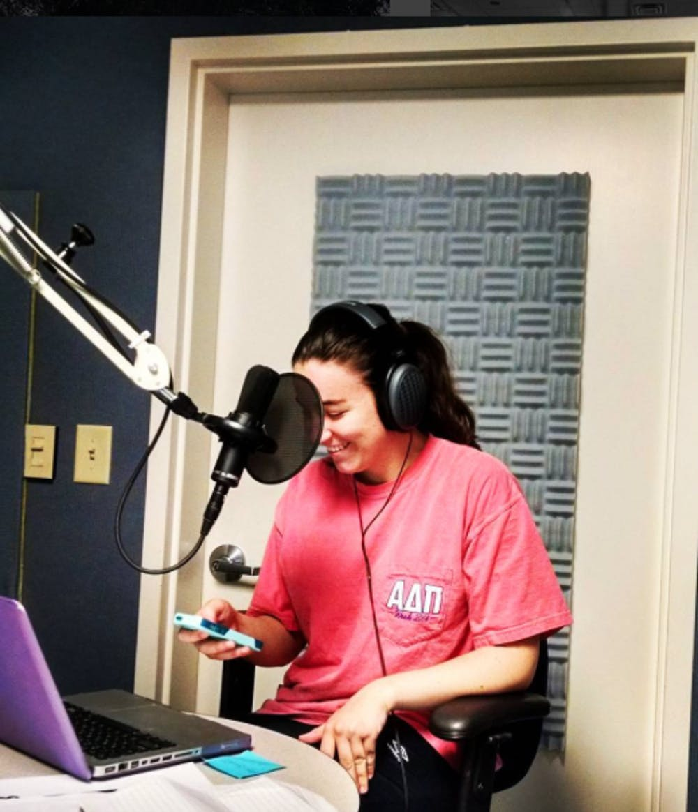 CCJ Student, Marin Guta, interviews Miss America Betty Cantrell in Georgia Public Broadcasting's studio.