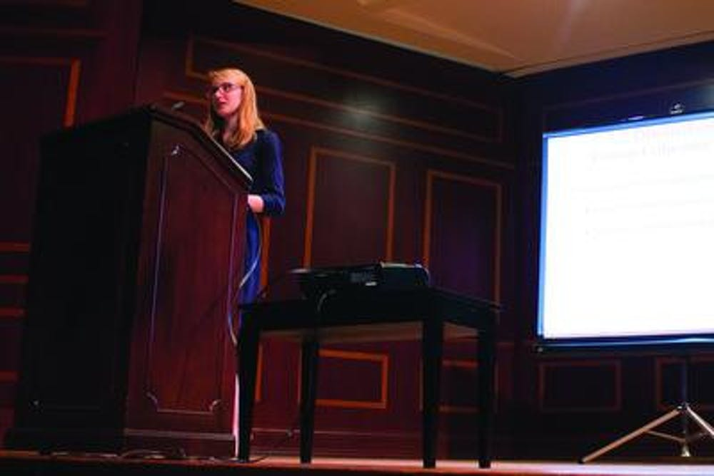 """Lillie Barnett gives her presentation on """"Stress and Group Cohesion in University Choir"""" for BEAR Day 2016."""