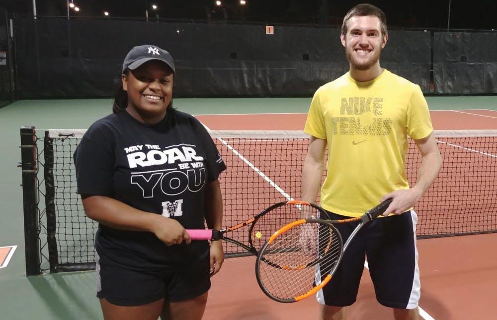 Club tennis players Julia Stephen (left) and Josh Allison (right).