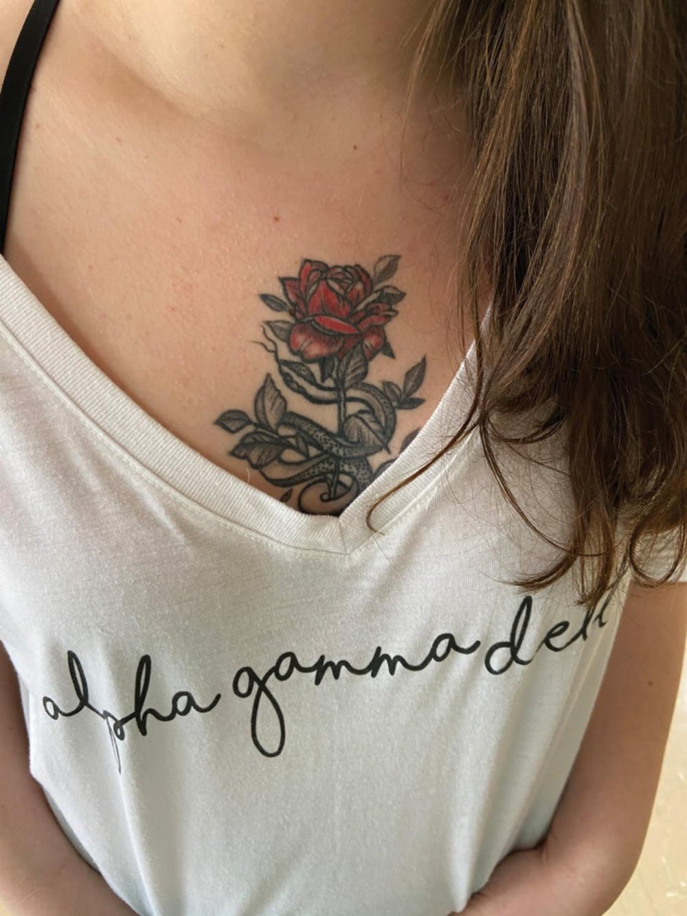 Alexus Goodrum's chest tattoo.