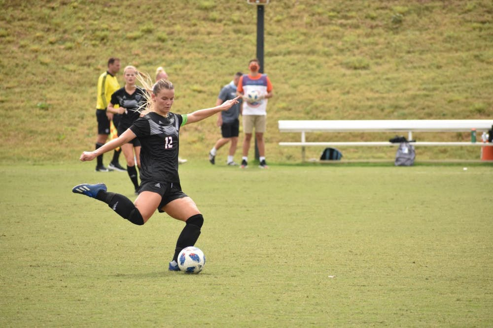 Mercer's Brie Pavol lines up to kick in a 2020 soccer match at Betts Stadium.