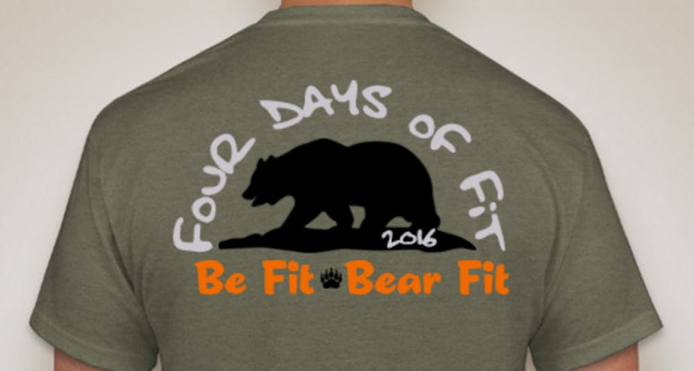 The Four Days of Fit t-shirt design. Join Quadwords in this event aimed at getting fit for Spring Break.