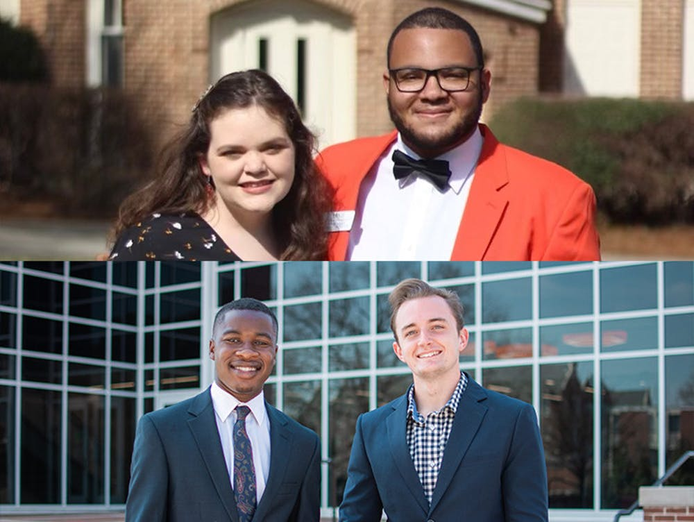 Rylan Allen (top right) is running for SGA President with vice presidential candidate Natalie Yaeger (top left). Ashton Bearden (bottom right) is running for SGA President with vice presidential candidate Caleb Mills (bottom left). Photos provided by the Allen/Yaeger and Bearden/Mills campaigns.