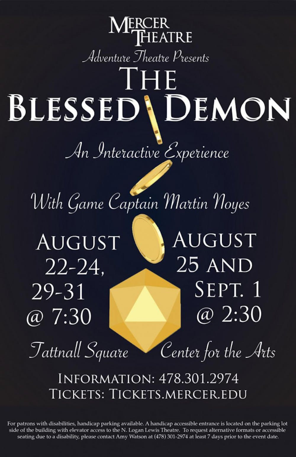"""The poster for """"The Blessed Demon."""" Graphic courtesy of Mercer Theatre"""