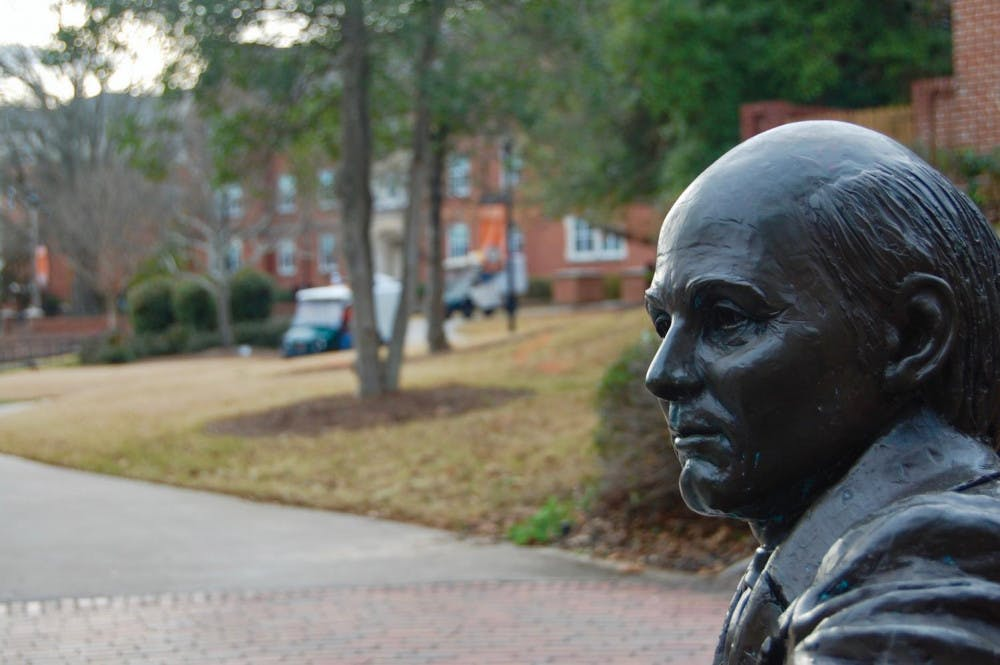 The statue of Jesse Mercer, the founder and first president of the university, in the heart of campus.