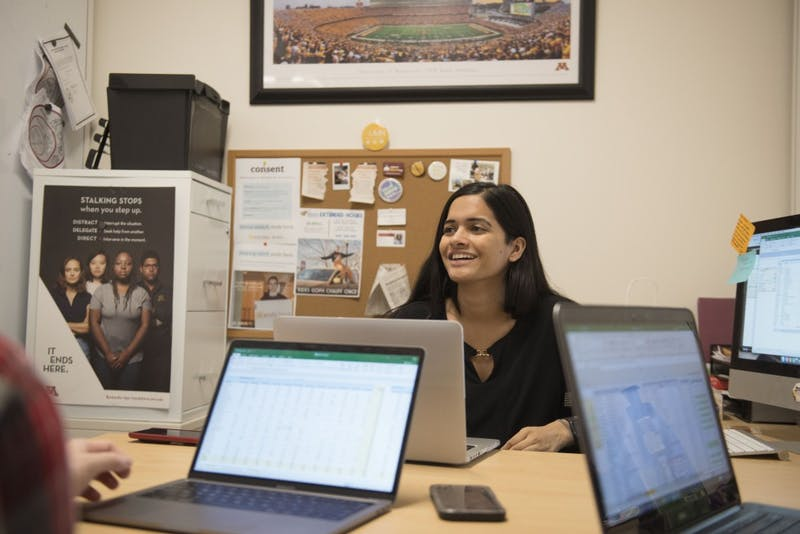 University Student Body President Simran Mishra holds a meeting with Minnesota Student Association staff on Monday, Feb. 4  at her office in Coffman Memorial Union.