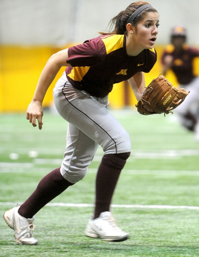 Minnesota Sophomore Kaitlyn Richardson practices with her team Tuesday, March 6, 2012, at the Gibson-Nagurski Football Practice Facility.