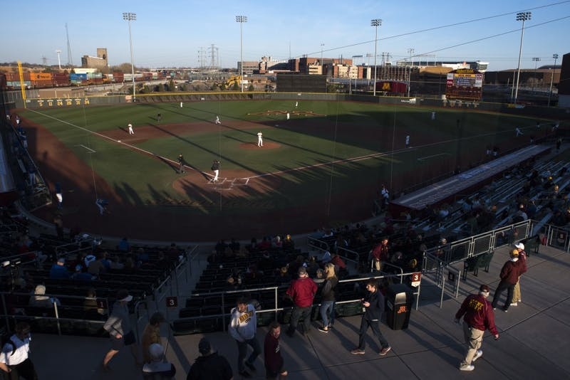 The Gophers baseball team takes the field during a game against South Dakota State at Siebert Field on Wednesday.
