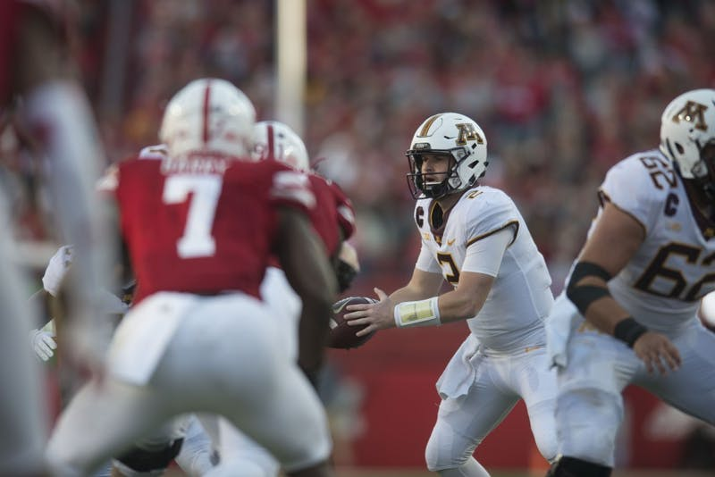 Quarterback Tanner Morgan looks to throw the ball on Saturday, Oct. 20 at Memorial Stadium. Nebraska defeated the Gophers with a final score of 53-28.